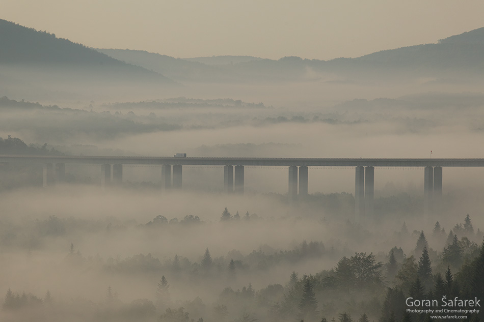 croatia, gorski kotar, mountains, forest, twilight, highway, morning, fog