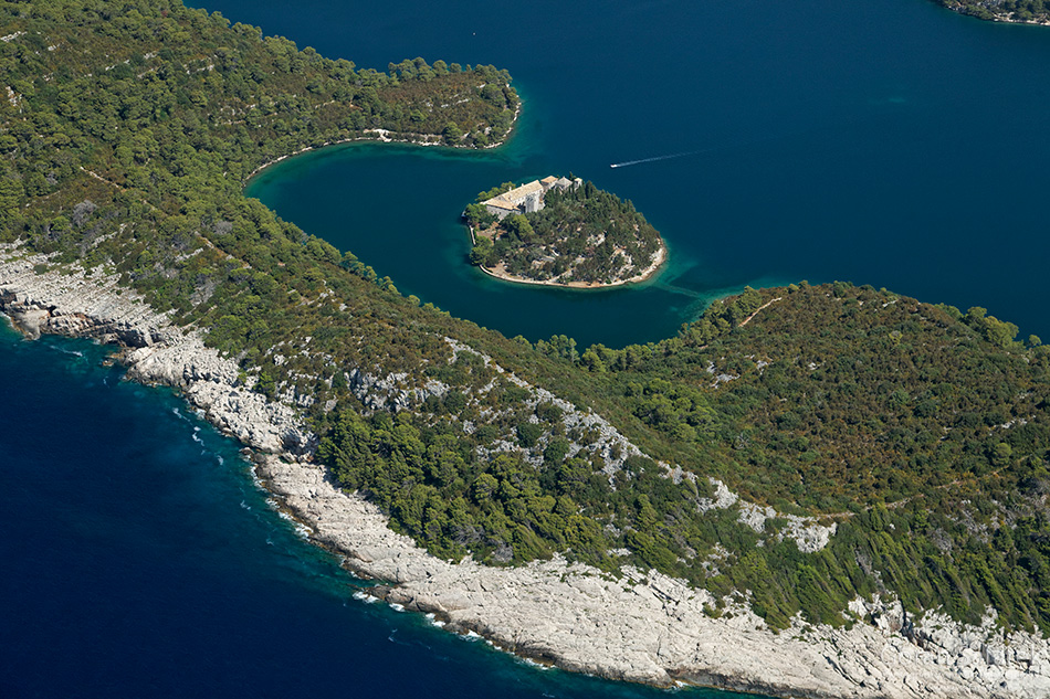 mljet, adriatic, sea, island, croatia, national park, coast, monastary, lake, saline