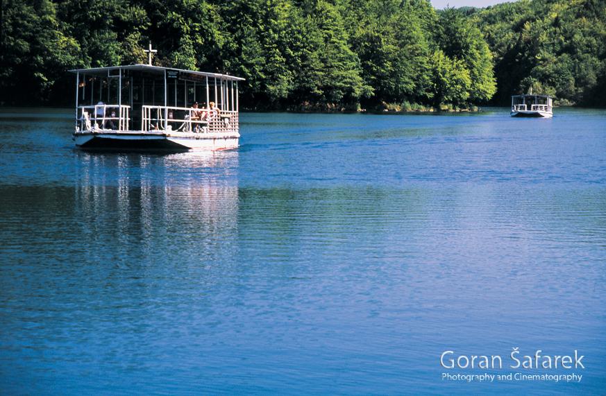 Lake Kozjak, boat, Plitvice lakes, plitvička jezera, national park, croatia,