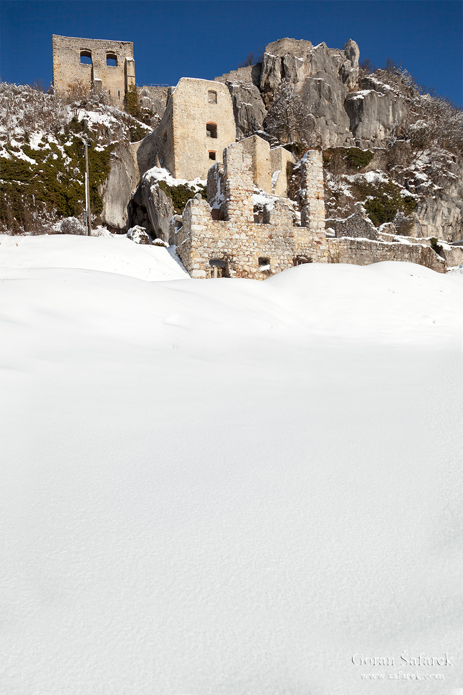 croatia, winter, snow, mountains, kalnik, fort, ruins