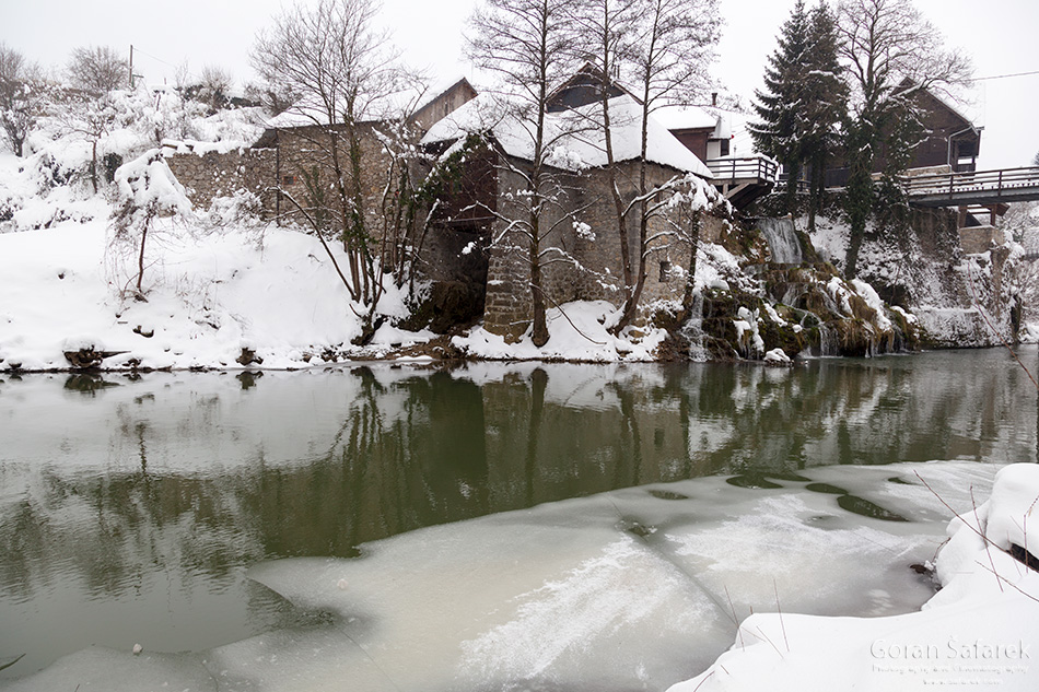 croatia, winter, snow, mountains, river, rastoke, waterfall