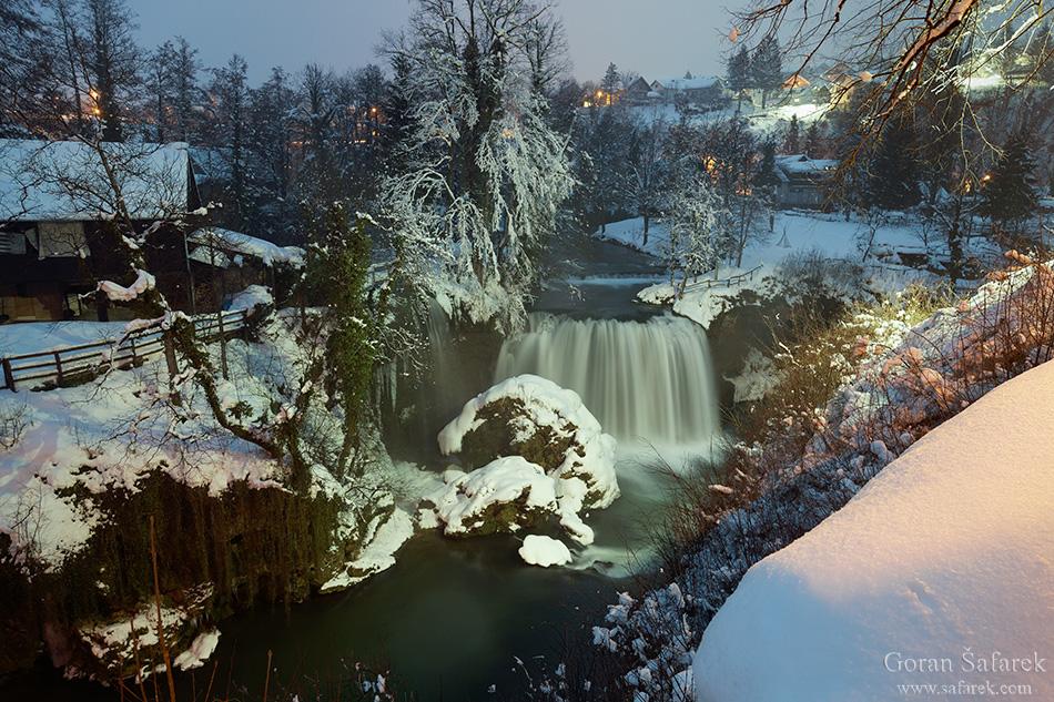 croatia, winter, snow, mountains, river, rastoke, waterfall