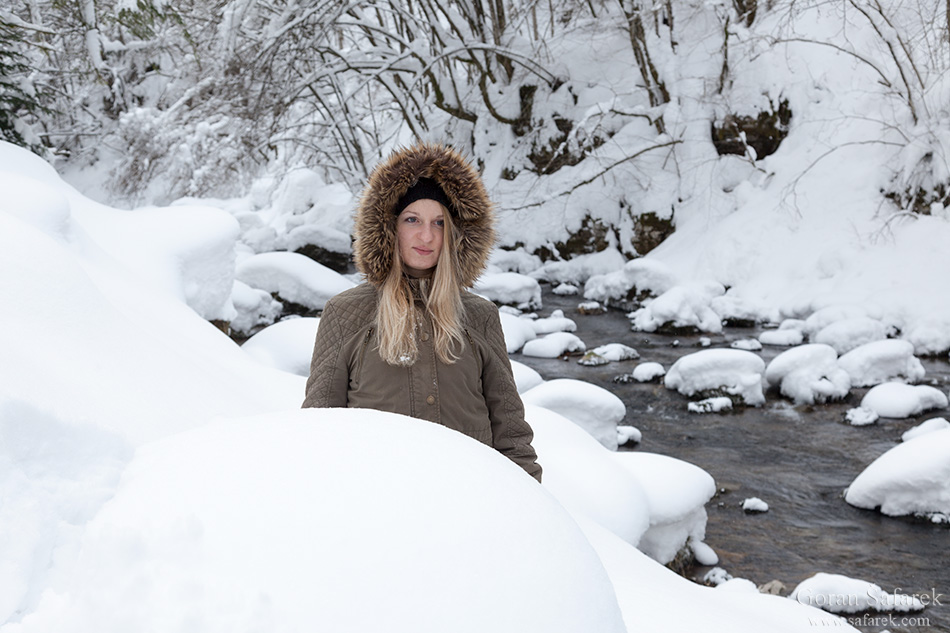 croatia, winter, snow, mountains, river, kamačnik, bridge, girl