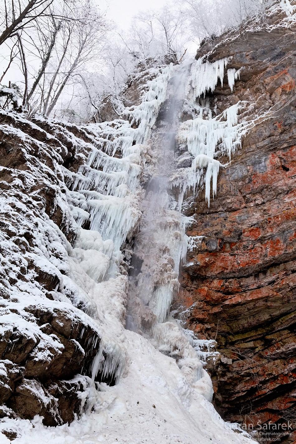 Zeleni vir, Devil's Passage, gorski kotar, torrent, river, forest, canyon, waterfall, frozen, winter