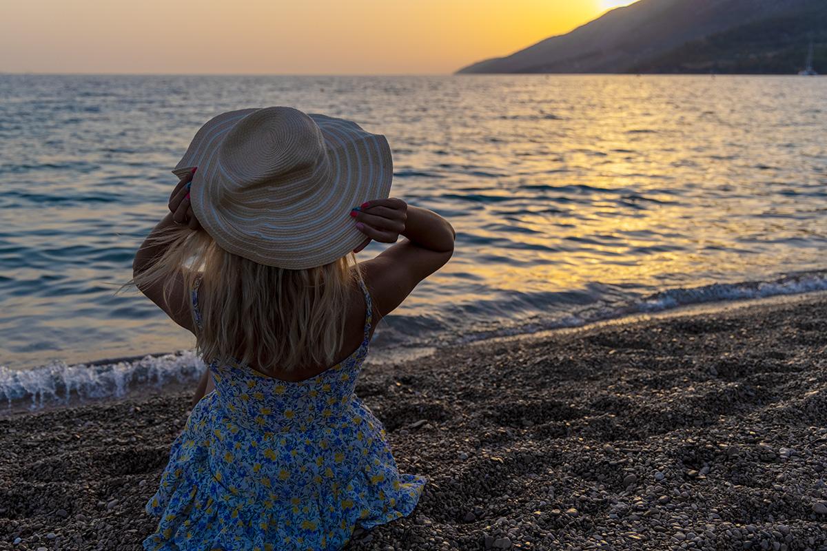 bol, brač, zlatni rat, brac, pebble beach, beach, sunset